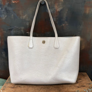 Tori Burch Perry Tote in Silver Pebbled Leather